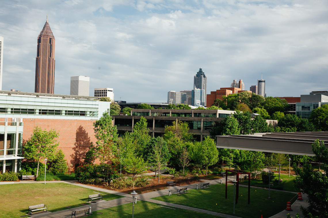 Picture of Klaus Advanced Computing Building with Atlanta in the background