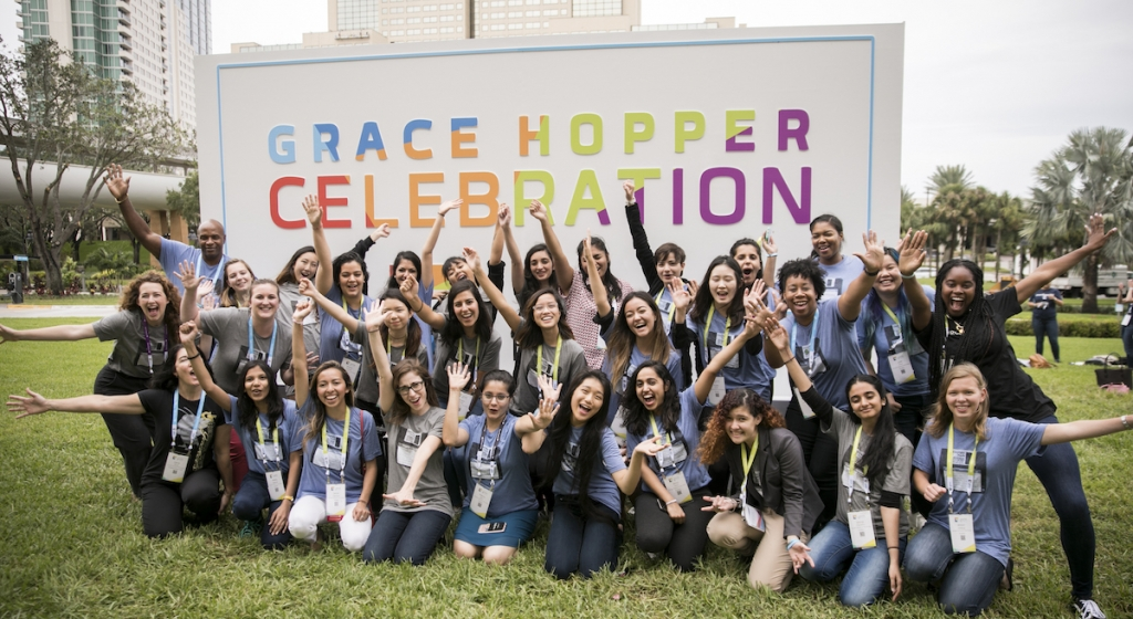 Georgia Tech students posing for picture at Grace Hopper Conference