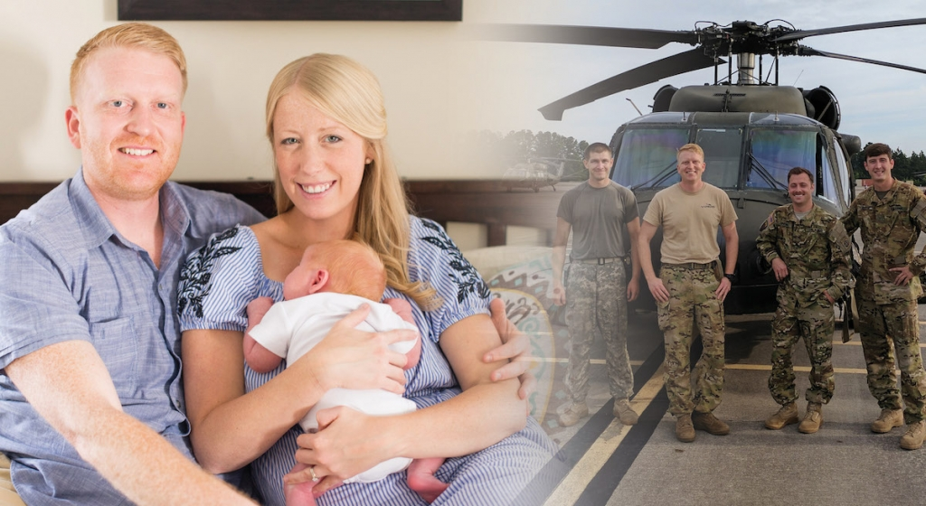 OMSCS student with wife and child - side by side with picture in service